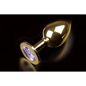 Большая золотая анальная пробка с закругленным кончиком и сиреневым кристаллом - 9 см.