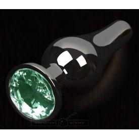 Графитовая удлиненная анальная пробка с зеленым кристаллом - 8,5 см.